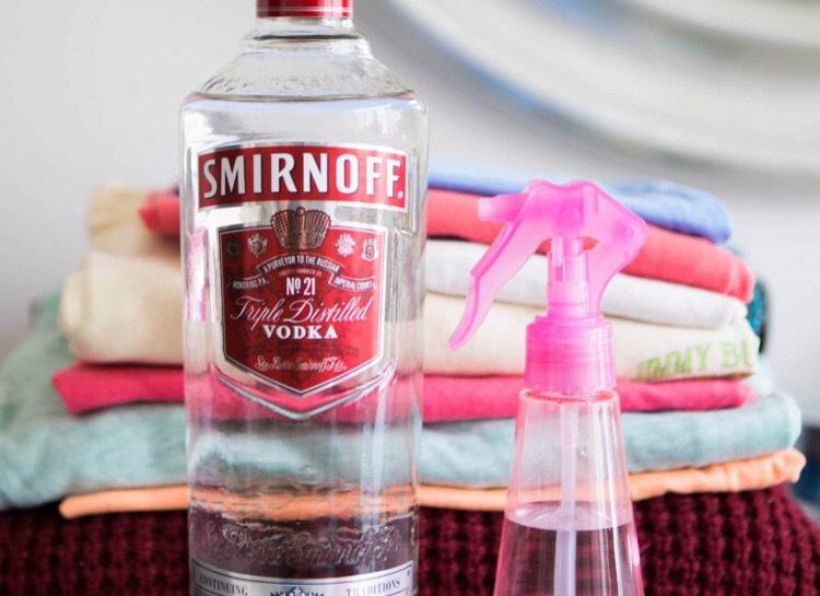 SMIRNOFF SMELL Spraying a small amount of vodka onto stinky clothes is a quick and easy way to remove odor if you don't have time to properly wash something. It may seem counter-intuitive, but the alcohol will kill the odor-causing bacteria in just