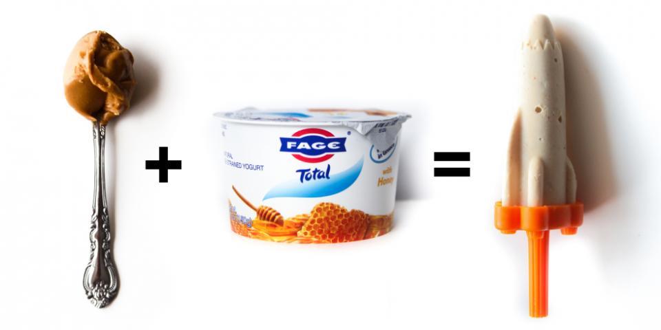 3. Smooth Peanut Butter + Honey Greek Yogurt = Fro-Yo Pops