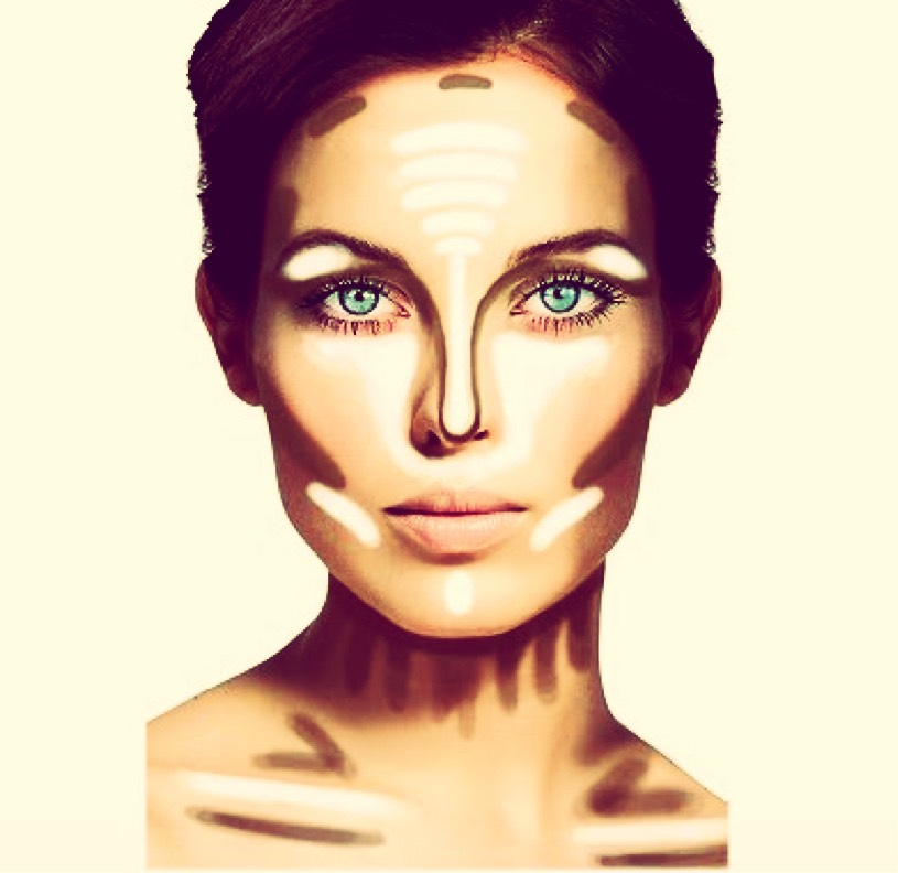 First, highlight under your eyes and above the nose a little on the forehead. Now, use a shade about 3 times darker to contour your jaw line and above you forehead and all down