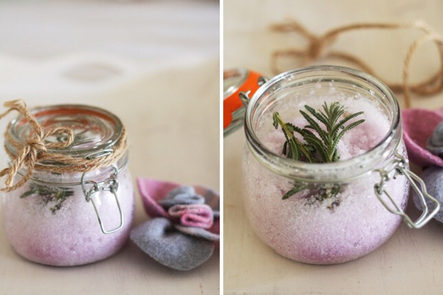 Add a few drops of food coloring, until you achieve the desired shade. If you intend to present the bath salts as gifts, be sure to store them in a stoppered & labeled container to keep out moisture.   👆🏼As a finishing touch if you have used lavender essential oil! You can do the same with vanilla