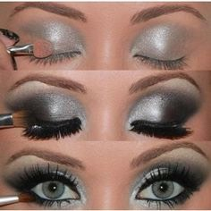 Black and silver eye makeup