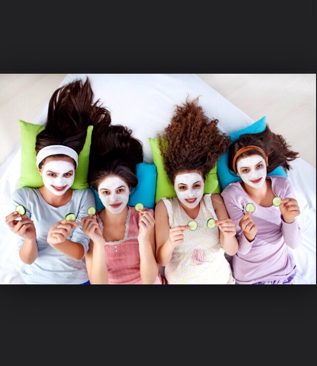 Put face masks on and pamper yourselfs. And have makeovers, normal ones and funny ones like no mirror ones for a laugh.