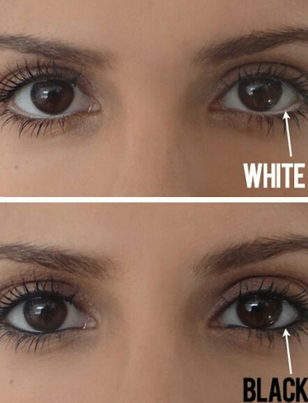 Use white eye liner on your water line to make your eyes look bigger and brighter!