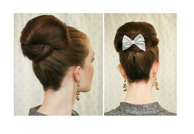 This is the perfect style to clip a sparkly bow right in front or high in the back, so if you have one to match your outfit then go for it! If you're having trouble with layers sticking out when covering your  hair tie, just spray the leftover hair closely with hairspray and run your hands down it.