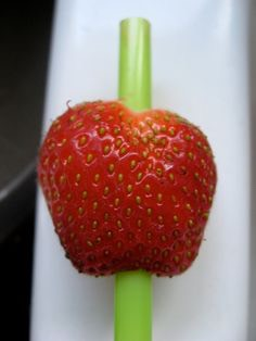 9. Use a straw to easily core a strawberry with no cutting involved. Just pluck the leaves, then push the straw into the top of the berry all the way through to the bottom.