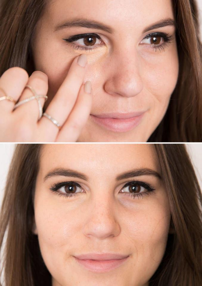 Dab an orange- or peach-colored concealer over dark under-eye circles with your ring finger.
