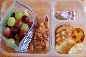Grapes, almonds, pita crackers, Laughing Cow cheese