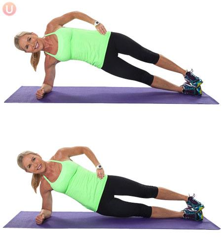 Side Plank Lift and Lower Perform 12 times on the right side and 12 times on the left side.