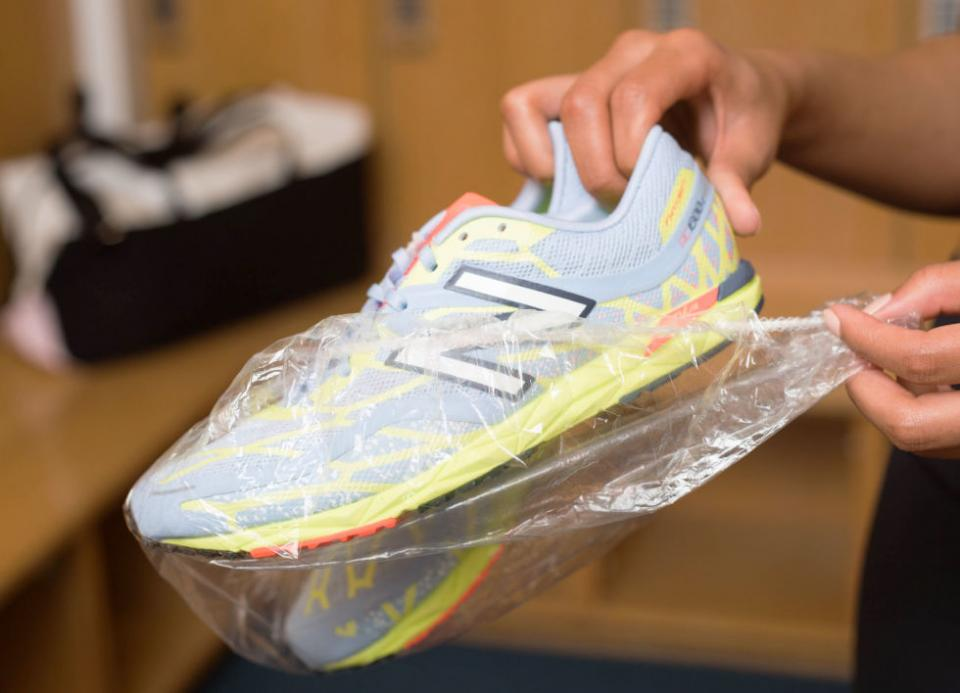 12. Wrap the soles of your shoes with a plastic shower cap before packing them. If you've ever tossed your sneakers in your bag and worried about them dirtying your clean clothes, this is a great tip for you.
