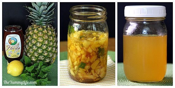 Get 8 oz (1 cup) of pineapple juice (canned or you could try squeezing the juice out of the pineapple) and and heat it up in the microwave for 30-60 seconds and add 2 tablespoons of honey to the pineapple juice and drink it.