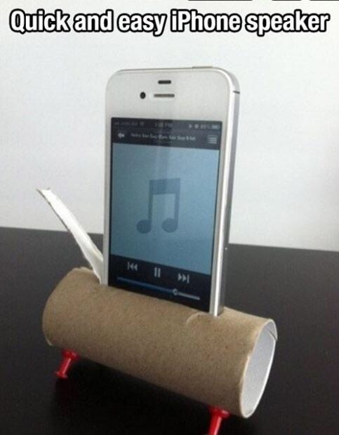 Cut a slip in a empty toilet paper roll and insert your phone into it for easy speaker  (optional) put paper clips on bottom of both sides on front and back  )