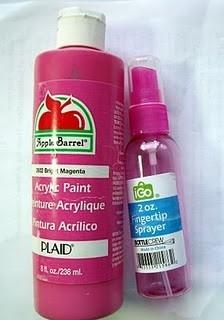 You can make your own small batch spray paint: mix 2 parts acrylic paint with 1 part water in a spray bottle.