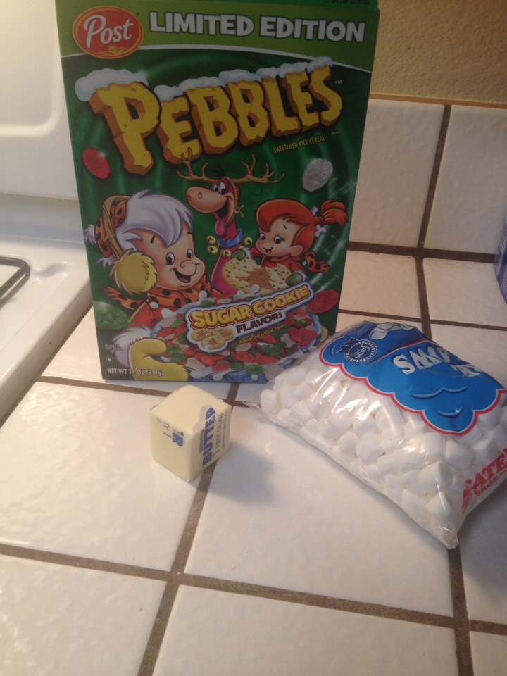 I whole box of sugar cookie fruity pebbles  1/2 stick of butter  10 1/2 oz of small marshmallows