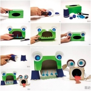 Easiest way to do this is a tissue box for the body cut zig zags out or the hole at the bottom of where the mouth will be and top the stick blue paper on top of white paper then to make the eyes stick on an voila!🐼