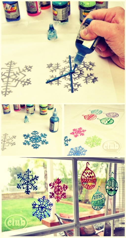 All you need is puff paint, a piece of paper, and wax paper. All you do is draw a snowflake on the paper and then trace that on the wax paper using the puff paint. Let dry then slowly peel of the snowflakes and stick them on your window!