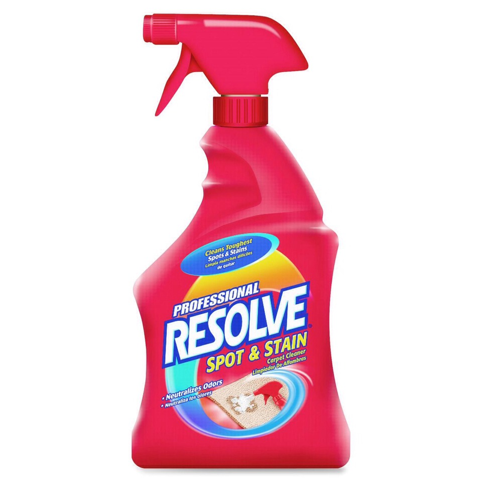 Spray on resolve spot and stain remover for carpets and wipe with a sponge NO MORE SOAP SCUM and NO MORE SCRUBBING!