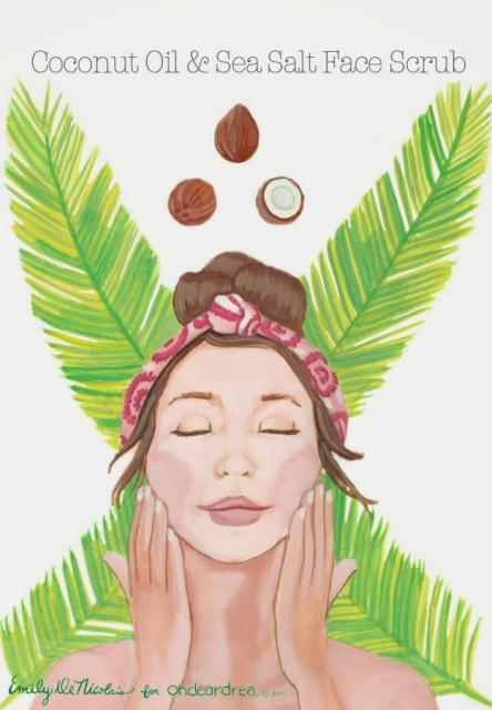 How to: In a small bowl, mix together two tablespoons of room temperature virgin coconut oil with one and half tablespoons of finely ground sea salt. GENTLY, apply the mixture to clean, dry skin. Massage into skin using a circular motion for 30-60 seconds before wiping clean with a cool,