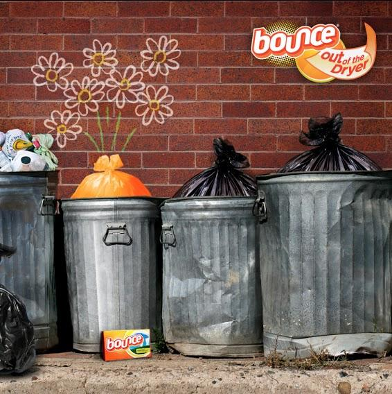 Help make your trash can smell better by placing a Bounce sheet at the bottom between the bag and bin