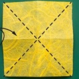 Fold diagonally both ways
