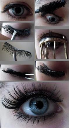 step by step pic guide to apply false lashes