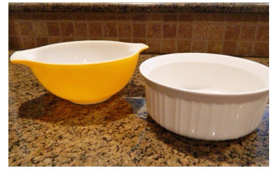 You will want to find a oven safe small bowl & casserole dish that look about the same size like this…