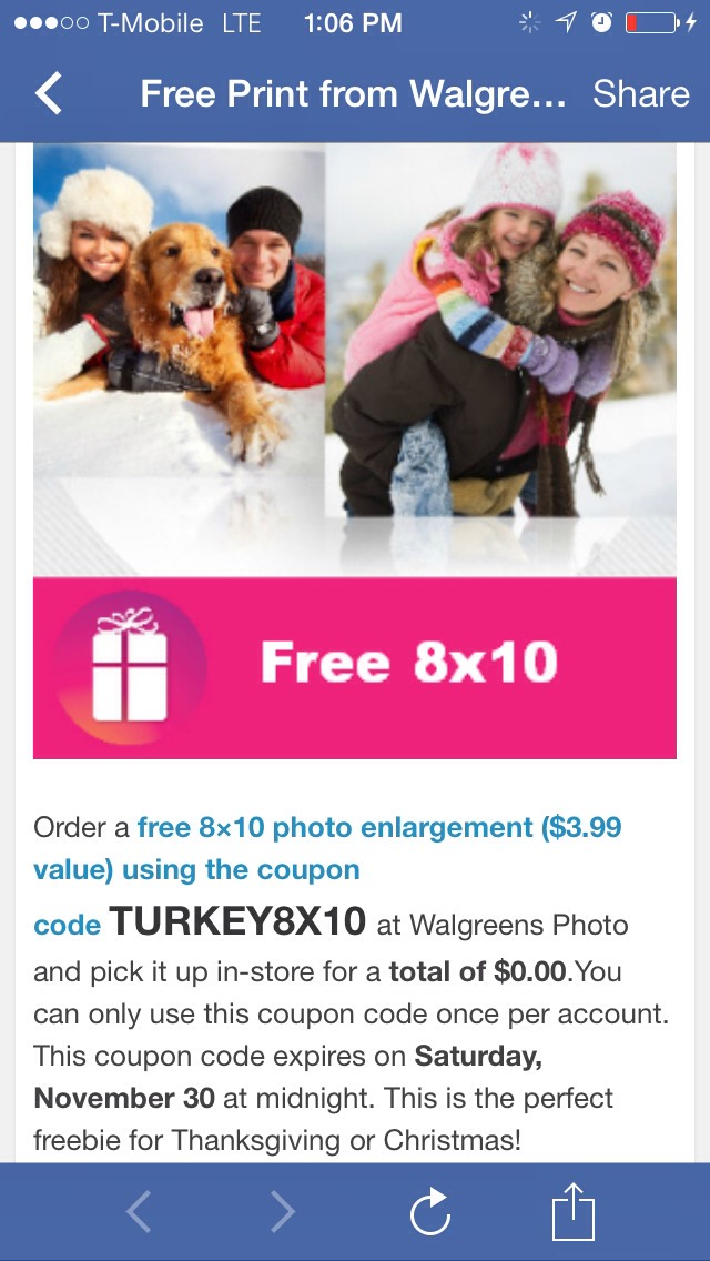Enter code TURKEY8X10 at checkout and get your 8x10 free!! Limit one per account ... I just got mine :) EXP NOV 30th!!!!!!!