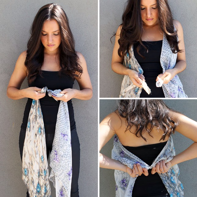 Take two summery silk scarves. Tie two ends together and drape around your neck. Then tie the front corners together and the same with the back. That's it!