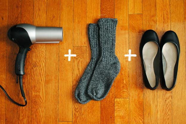 15. Combine wooly socks and a blowdryer for painless breaking in.: Bonus points for warm feet while shoe-hacking.
