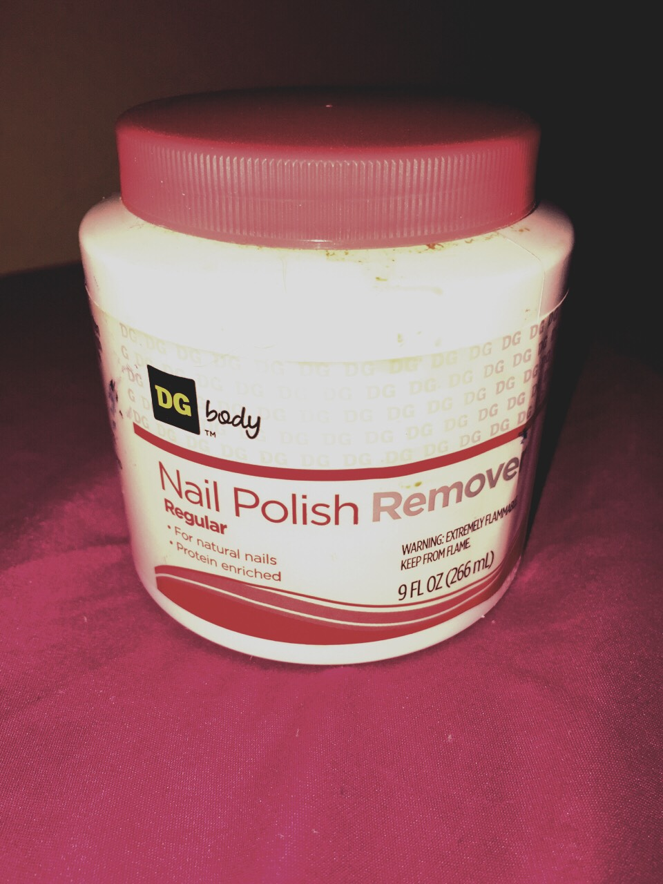 If the feel of cotton touching your nails bothers you or you need to get your paint off quickly, use a nail polish remover like this. You just stick your nails in and out a few times and it removes it.