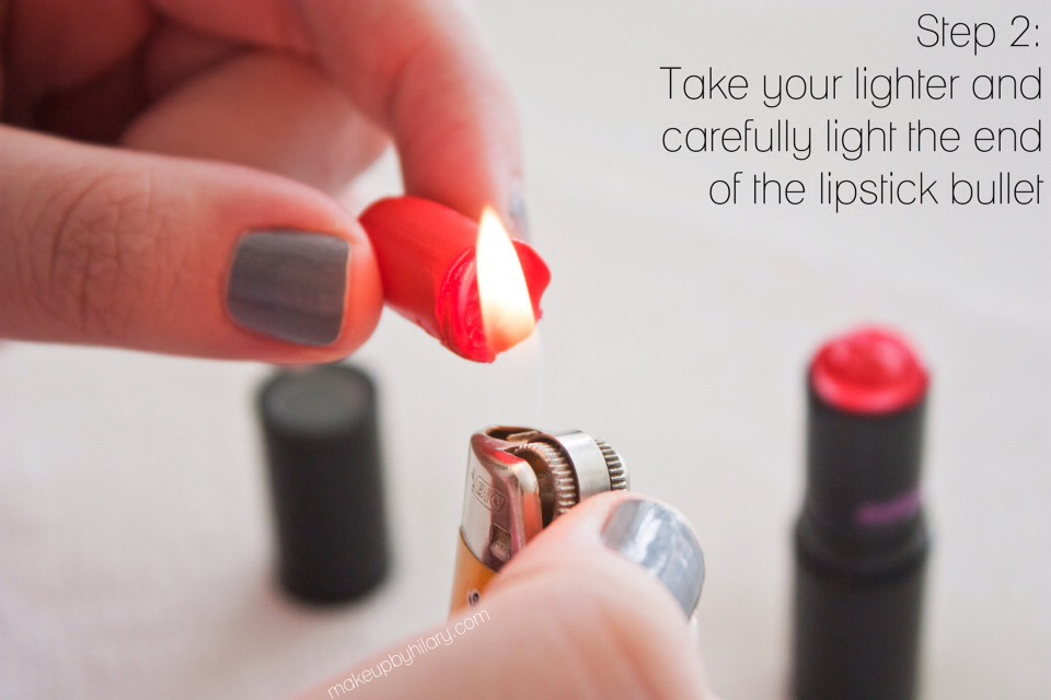 2.Hold your lipstick bullet in one hand and carefully light the end of it with the lighter. This will melt the bottom of it so that you can move on to the next step. (Please excuse my chipping nail polish!)