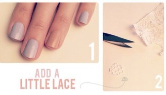 Cut a small circle of lace out and put at the base of the nail.