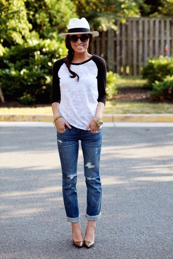 12. A panama hat keeps a baseball shirt and boyfriend jeans from being too casual and boring.