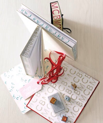 35. Monogrammed Journal Customize a journal or book with alphabet stamps! I love the idea of writing or stamping on the page ends. Use a clamp or large binder clip to keep it closed while you're stamping.