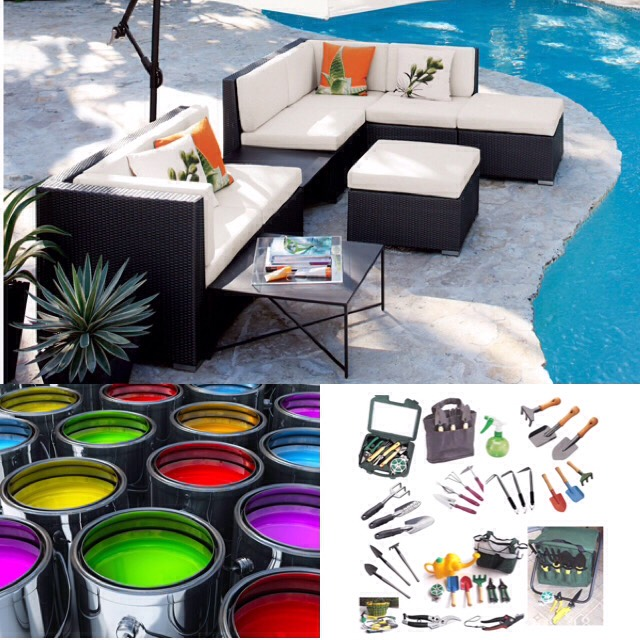 April- paint, outdoor furniture, gardening & landscaping equipment and supplies.