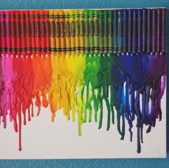• crayons • glue ( liquid Elmer's glue works fine ) • hair dryer • white canvas
