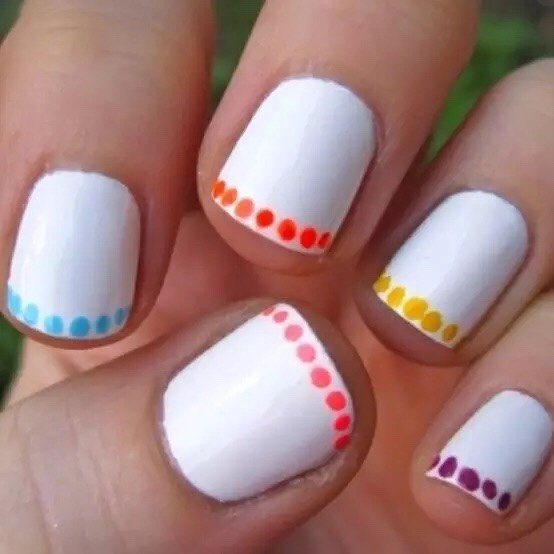 Awesome simple nail design and all you will need is a dotting tool (or a bobby pin)  and some nail colors 1) Paint your nails white 2) get your dotting tool (or bobby pin) and dot the different colors on the tips of your nails