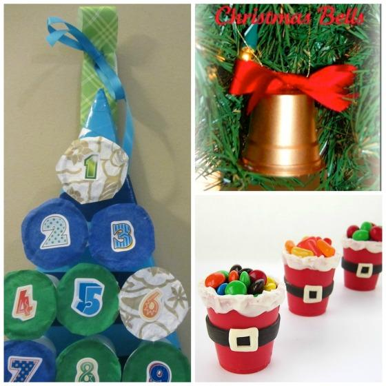 9. Use them for crafting at Christmas time: Turn your K-cups into homemade advent calendar for Christmas!   Make K-cup Christmas bell ornaments.   Make some festive K-cup snack holders or party favours.