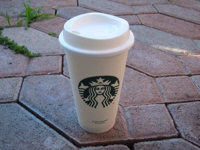 Starbucks has a new reusable cup! It's made of PVC plastic and is very durable. At only $1 this cup is a real treat for Starbucks goers. Not only can you help our environment, you also get .10 off your drink. Two really good reasons to buy this cup! Enjoy!