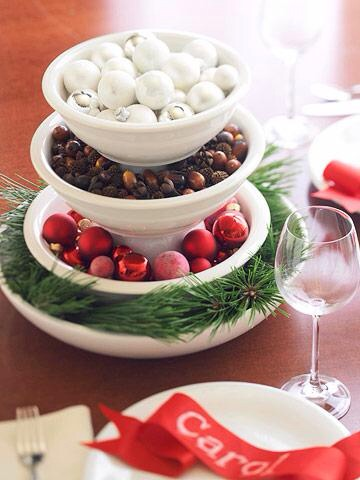 All mixed up  Stack three or four mixing bowls to create tiers for displaying mini ornaments, dried pods or nuts, clipped greens, hard candies, ribbons, tinsel or fruits. To prevent the mixing bowls from sitting too low, place a cereal bowl upside down between each layer.