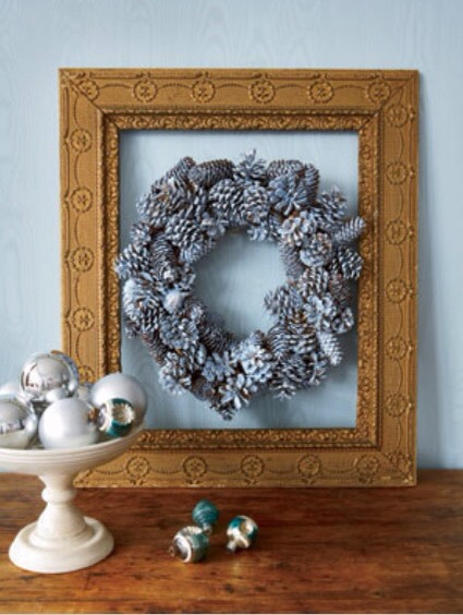 Bypass traditional colors this holiday and design a rustic wreath that complements your decor. Hot-glue pinecones to a grapevine base; let dry. Paint the wreath in a hue that coordinates with your room; allow to dry. Using a clean brush, dab glue on pinecones and sprinkle with glitter; let set.