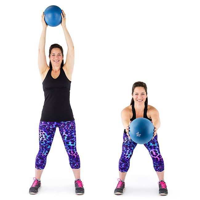 2. Squats with an Exercise Ball: Perfect your range of motion with the squishy ball squat. Stand with feet about shoulder-width and hold the ball overhead.Hinge the hips backward and down as the upper body drops with them. Bring the ball down and in front of you at shoulder level. Even though you're focusing on the ball in front of you, make sure the knees stay behind the toes and the chest is lifted. Exhale and push out of the squat to standing and lift the ball overhead again.