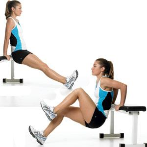 Dip and Knee Raise   Tones: Triceps, shoulders, and upper back