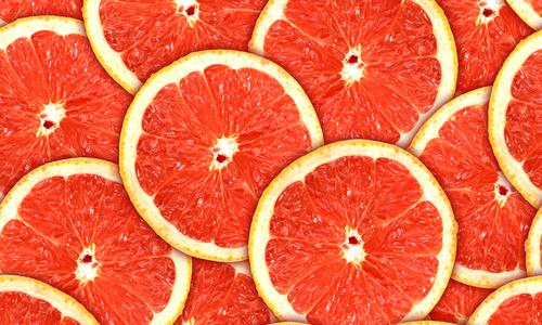 4- Grapefruit  Want softer skin? Have a grapefruit for breakfast! They contain *lycopene & vitamin C which build collagen, protects skin from the sun, & lighten wrinkles.  *Lycopene is a natural chemical that gives fruit a red colour, & a powerful antioxidant that helps protect cells from damage