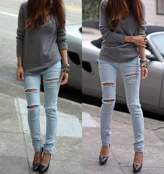 3. Light jeans and grey sweater