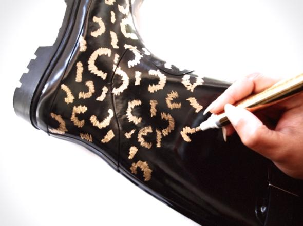 Use your gold leafing pen to personalize the design on your boots. You can draw polka dots or hearts or a coll tribal print. The design is completely up to you. I chose to create my own leopard print pattern…obviously.