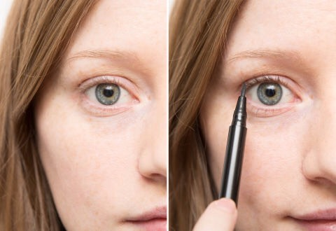 1⃣3⃣Tint light eyelashes with a liquid liner for a no-makeup makeup look. Using windshield wiper-like motions, hold the liner pen vertically and color your lashes from the roots to ends. (Tip via Charlie Riddle for Stila at Elizabeth and James.)