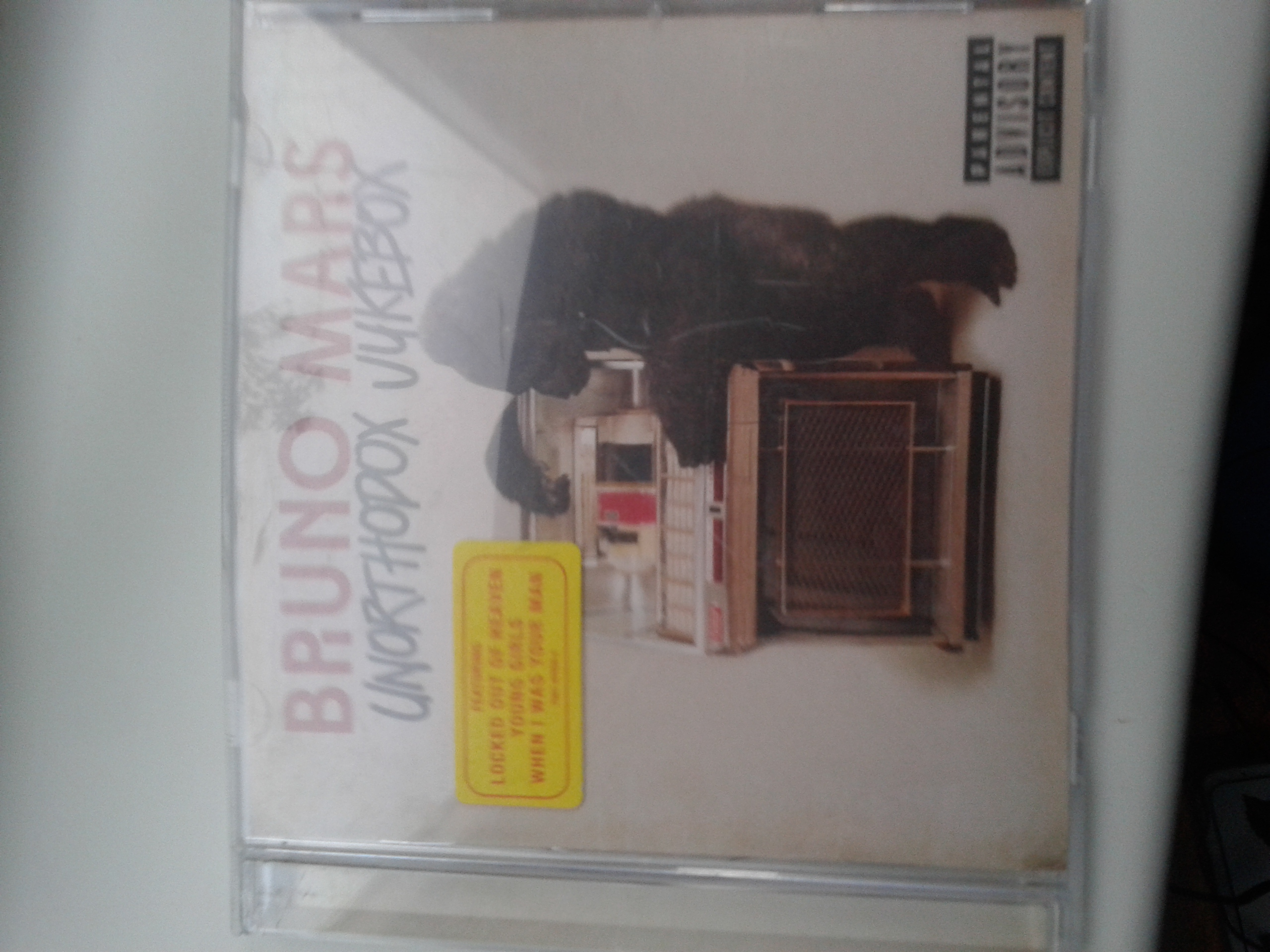Next CD Is Bruno Mars Latest Album - Unorthodox Jukebox This album is a must have because it has different types of songs some slower and calmer than others and some you will be dancing on your high feet and singing the words cause they are that catchy. Featuring the singles Treasure and Young Girls