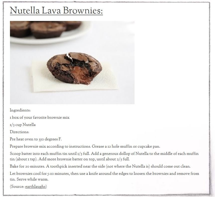 I have had Nutella brownies once and loved them so I decided to find the recipe and share it with you guys (: enjoy xx