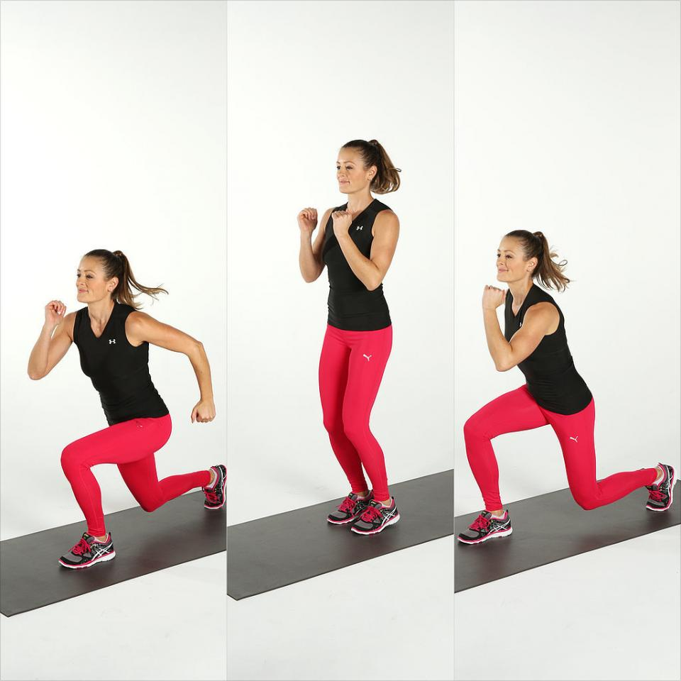Split Lunge Jumps Stand with your feet together and your knees soft. Jump and come into a lunge with your left leg forward. Push off with both feet, jumping them together, then hopping into a lunge with your right leg in front. Jump your feet back together to complete one rep.