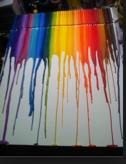 Glue crayons to a price of white cardboard and glow then with a hot blow dryer.